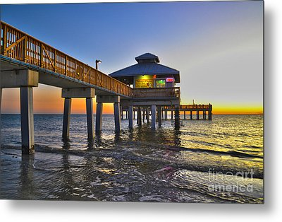 Fort Myers Beach Pier 3 Metal Print by Timothy Lowry