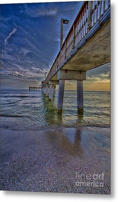Fort Myers Beach Pier Metal Print by Anne Rodkin