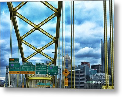 Fort Pitt Bridge And Downtown Pittsburgh Metal Print by Thomas R Fletcher