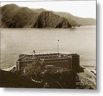 Fort Point And The Golden Gate San Francisco Circa 1890 Metal Print by California Views Mr Pat Hathaway Archives