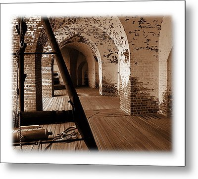 Metal Print featuring the photograph Fort Pulaski Arches Sepia by Jacqueline M Lewis
