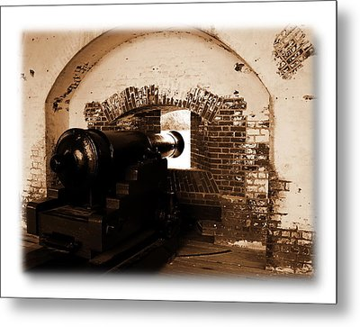 Metal Print featuring the photograph Fort Pulaski Canon Sepia by Jacqueline M Lewis
