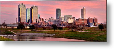 Metal Print featuring the photograph Fort Worth Skyline At Dusk Evening Color Evening Panorama Ft Worth Texas  by Jon Holiday