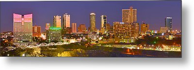 Metal Print featuring the photograph Fort Worth Skyline At Night Color Evening Panorama Ft. Worth Texas by Jon Holiday