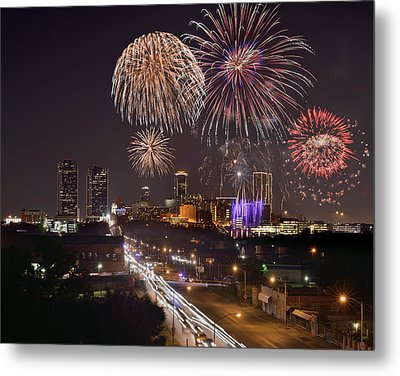 Metal Print featuring the photograph Fort Worth Skyline At Night Fireworks Color Evening Ft. Worth Texas by Jon Holiday