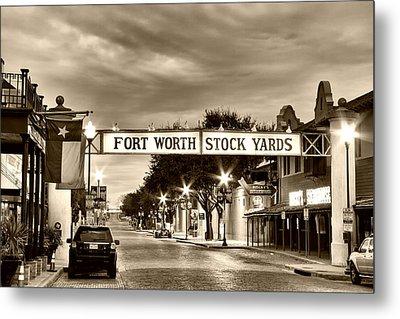 Fort Worth Stock Yards In Sepia Metal Print
