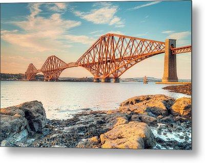 Forth Bridge At Sunset Metal Print by Ray Devlin