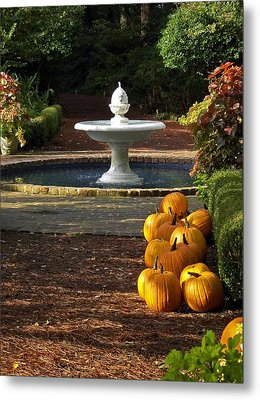 Metal Print featuring the photograph Fountain And Pumpkins At The Elizabethan Gardens by Greg Reed