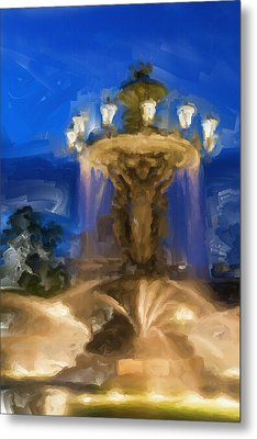 Fountain At Dusk Metal Print by Ayse Deniz