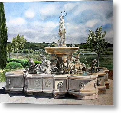 Metal Print featuring the painting Fountain At The Vineyards Edge by Gail Chandler