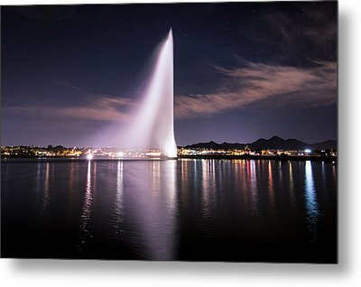 Fountain Hills At Night Metal Print by Michael J Bauer