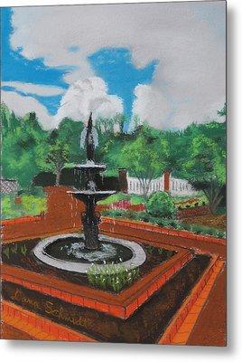 Fountain In Ga Official Botanical Garden At Athens Metal Print