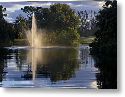 Fountain On Golf Course Metal Print by M Cohen