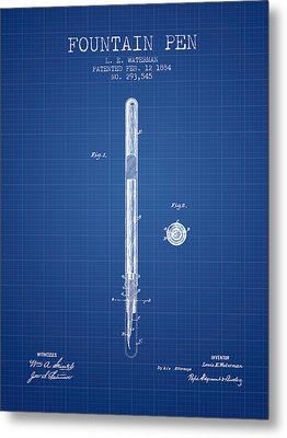 Fountain Pen Patent From 1884 - Blueprint Metal Print