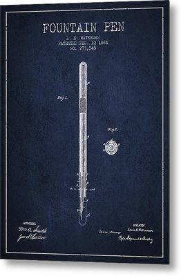 Fountain Pen Patent From 1884 - Navy Blue Metal Print