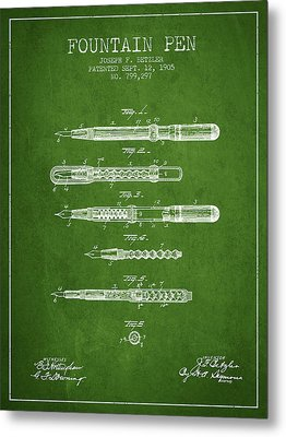 Fountain Pen Patent From 1905 - Green Metal Print