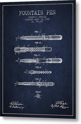 Fountain Pen Patent From 1905 - Navy Blue Metal Print