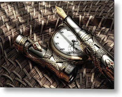 Fountain Pen Still Life Metal Print