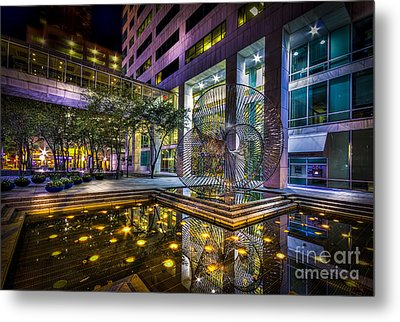 Fountain Reflection Metal Print