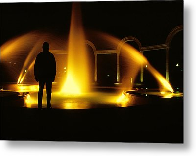 Metal Print featuring the photograph Fountain Silhouette by Jason Politte