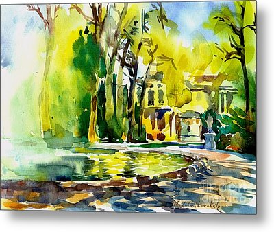 Fountain Spray - Brussels In Spring Metal Print by Anna Lobovikov-Katz