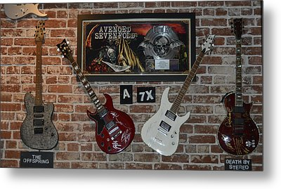 Metal Print featuring the photograph Vintage Four Autographed Guitars And Signed Record From Bands Avenged Sevenfold- The Off Spring  by Renee Anderson