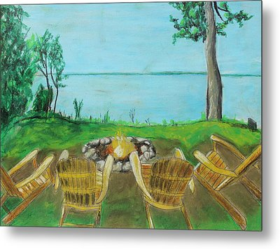 Metal Print featuring the painting Four Chairs by Jeanne Fischer