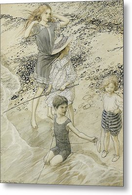 Four Children At The Seashore Metal Print by Arthur Rackham
