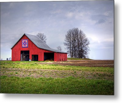 Four Corners Quilt Barn Metal Print by Cricket Hackmann