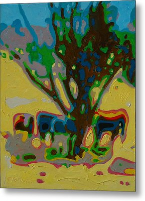 Four Cows Under Tree Oil Painting By Bertram Poole Metal Print by Thomas Bertram POOLE