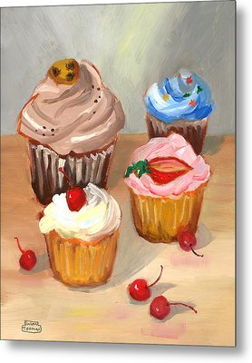 Four Cupcakes Metal Print by Susan Thomas