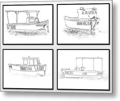 Four Fishing Boats Of Aruba Metal Print