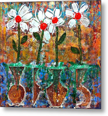 Four Flowers Four Vessels Metal Print by Cleaster Cotton