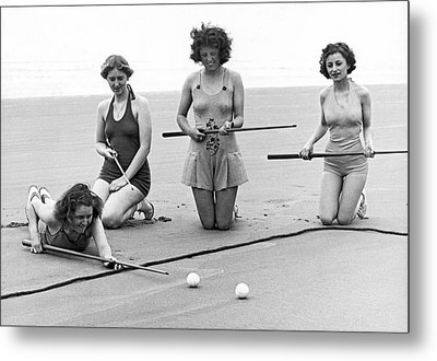Four Girls Playing Sand Pool Metal Print by Underwood Archives