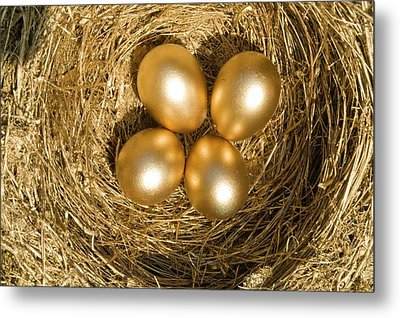 Four Golden Eggs In A Nest Metal Print by Ashley Cooper