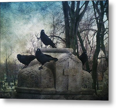 Four Graveyard Crows Metal Print by Gothicrow Images