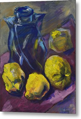 Four Lemons And A Blue Vase Metal Print