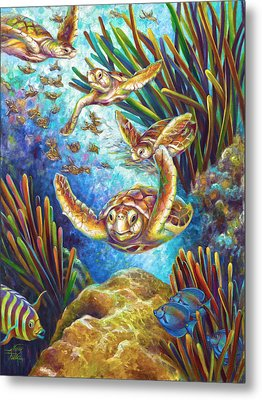 Four Loggerhead Turtles Metal Print by Nancy Tilles