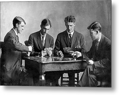 Four Men Playing Cards Metal Print by Underwood Archives