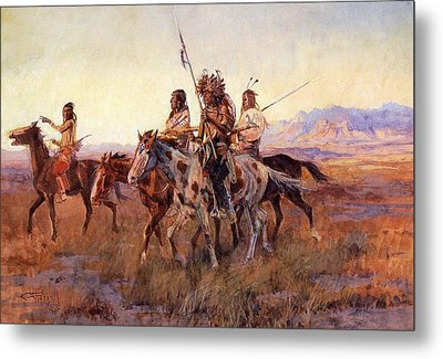 Four Mounted Indians Metal Print by Charles Russell