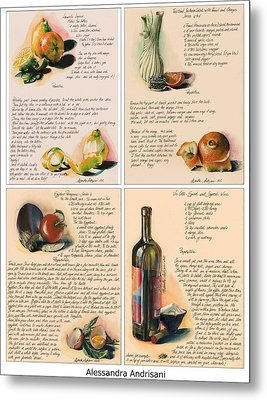 Four Painted Recipes Metal Print by Alessandra Andrisani