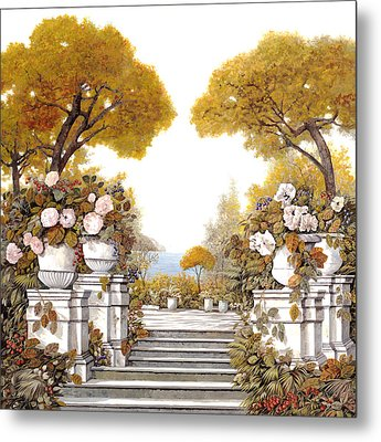 four seasons-autumn on lake Maggiore Metal Print by Guido Borelli