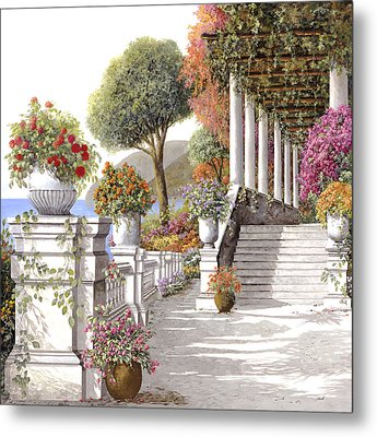 four seasons-summer on lake Como Metal Print by Guido Borelli