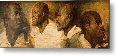 Four Studies Of Male Head Metal Print by Peter Paul Rubens