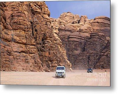 Four Wheel Drive Vehicles At Wadi Rum Jordan Metal Print by Robert Preston