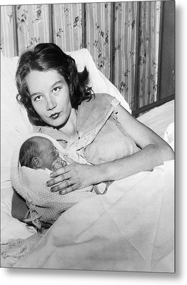 Fourteen Year Old Mother Metal Print by Underwood Archives