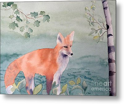Fox And Birch Metal Print