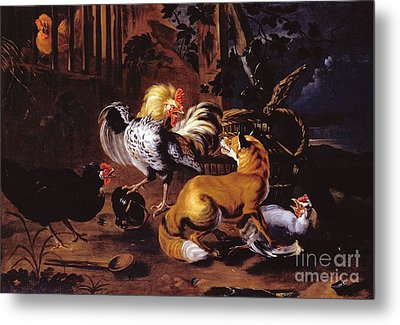 Fox And Poultry Metal Print by Pg Reproductions