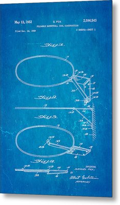 Fox Foldable Basketball Goal Patent Art 1952 Blueprint Metal Print