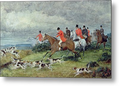 Fox Hunting In Surrey Metal Print by Randolph
